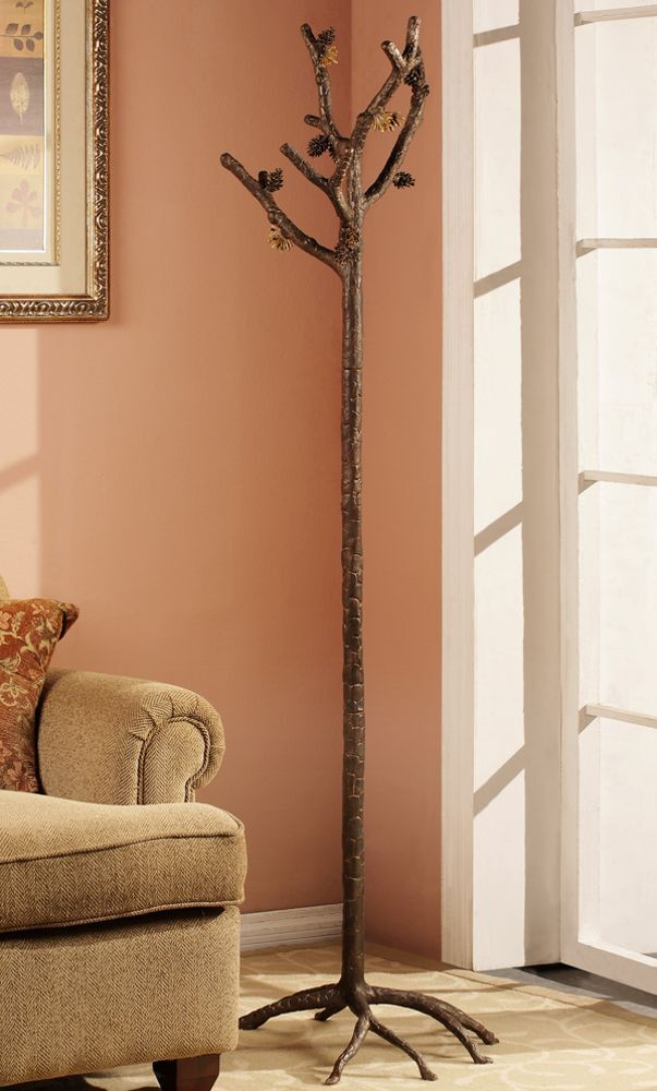 Pinecone Branch Coat Rack Hat Stand Hall Tree Pine Rustic