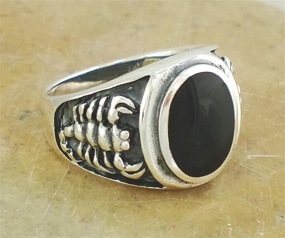 thick s 925 sterling silver scorpion onyx ring size 9
