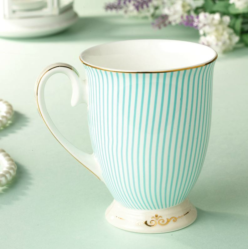 mug coffee high tea cup royal princess blue fine bone