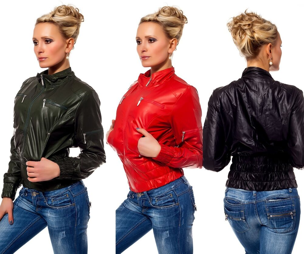 bikerjacke kurze jacke zipper lederoptik casual jacke lederimitat blazer ebay. Black Bedroom Furniture Sets. Home Design Ideas