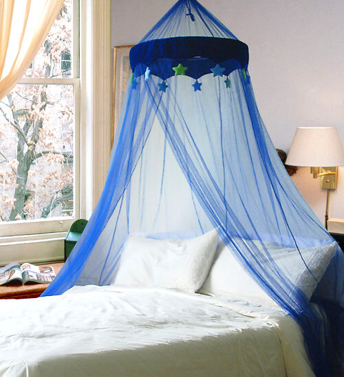 Dreamma blue round dome bed canopy bedcover mosquito net for Bed with mosquito net decoration