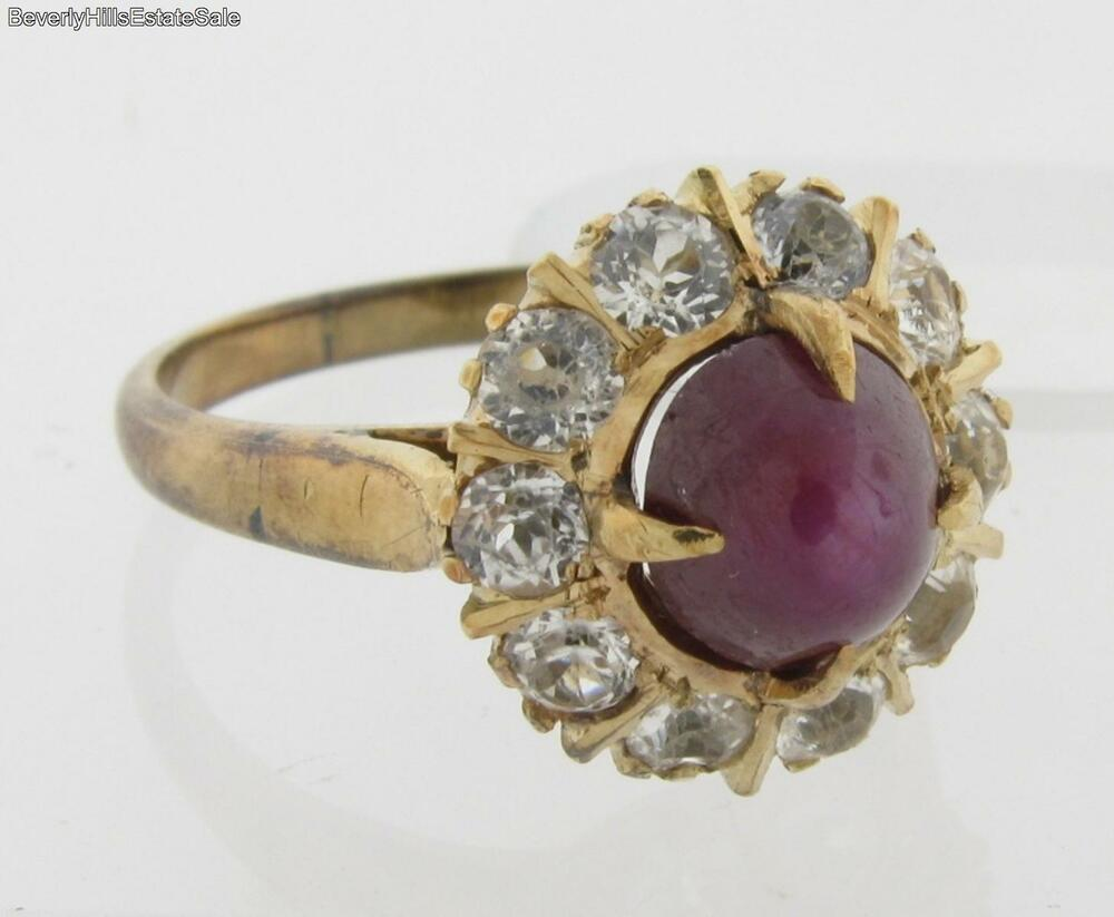 Antique Art Deco Star Ruby White Sapphire 14k Yellow Gold