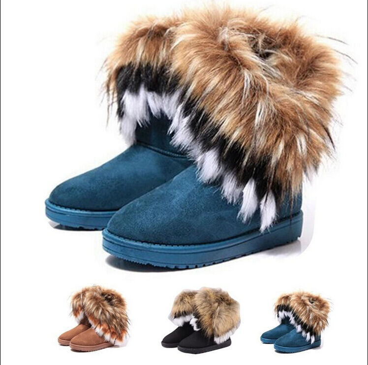 women winter warm high long snow Ankle boots faux fox rabbit fur ...