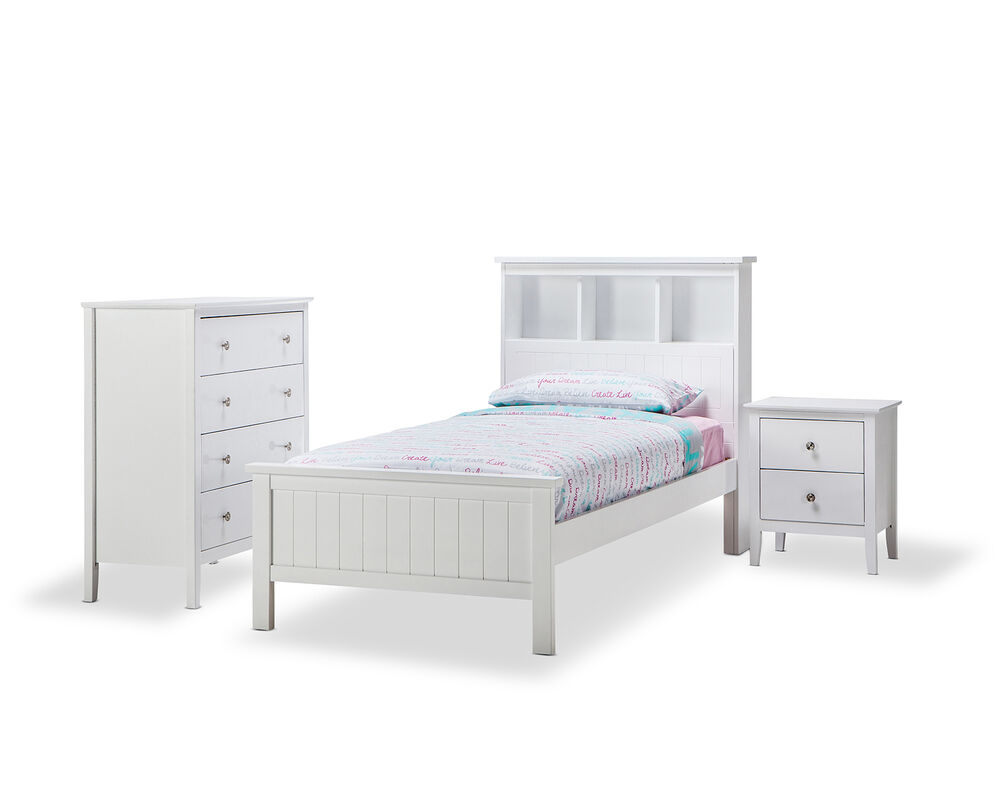 WHITE Timber Wood Single Bookcase Storage Bed Frame Boys