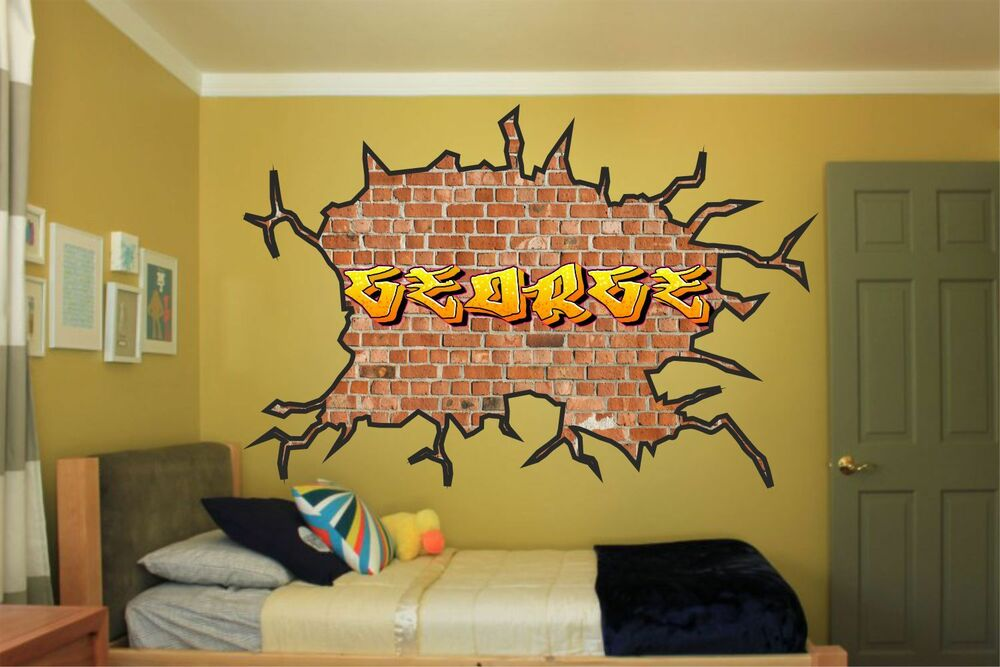 Large personalised name graffiti wall art sticker boys girls kids bedroom ga6 1 ebay Painting graffiti on bedroom walls