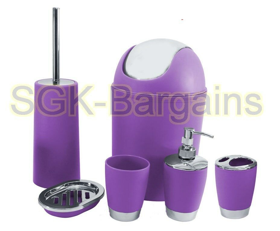 6pc bathroom accessory set tumbler toilet brush lotion for Purple bathroom bin