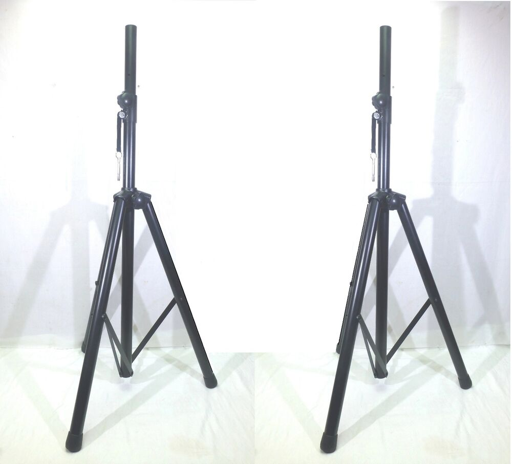 2 two dj pa metal tripod stands for powered or passive speakers ebay. Black Bedroom Furniture Sets. Home Design Ideas
