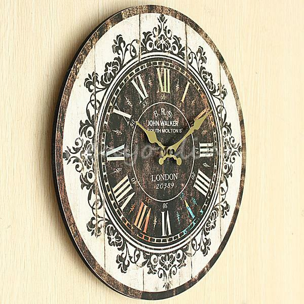 Large Vintage Wall Decor : Large wall clock tracery vintage rustic shabby chic home