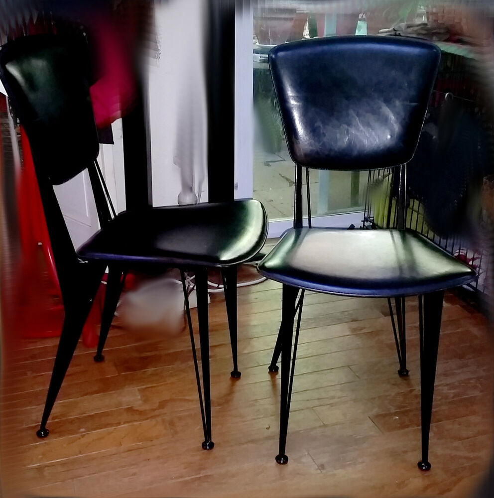 pair of mid century italian black leather and metal side chairs ebay. Black Bedroom Furniture Sets. Home Design Ideas