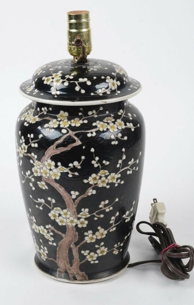 Vintage Japanese Hand Painted Ceramic Jar Wired As A Lamp
