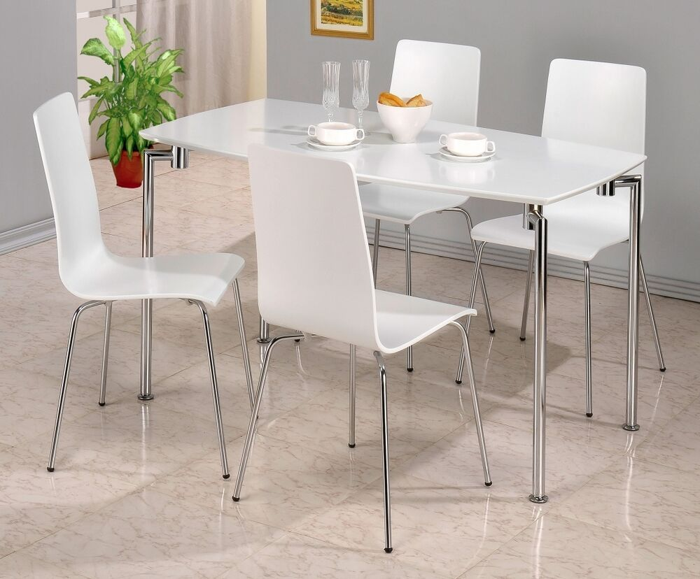 fiji white gloss and chrome dining table matching chairs also in black ebay. Black Bedroom Furniture Sets. Home Design Ideas