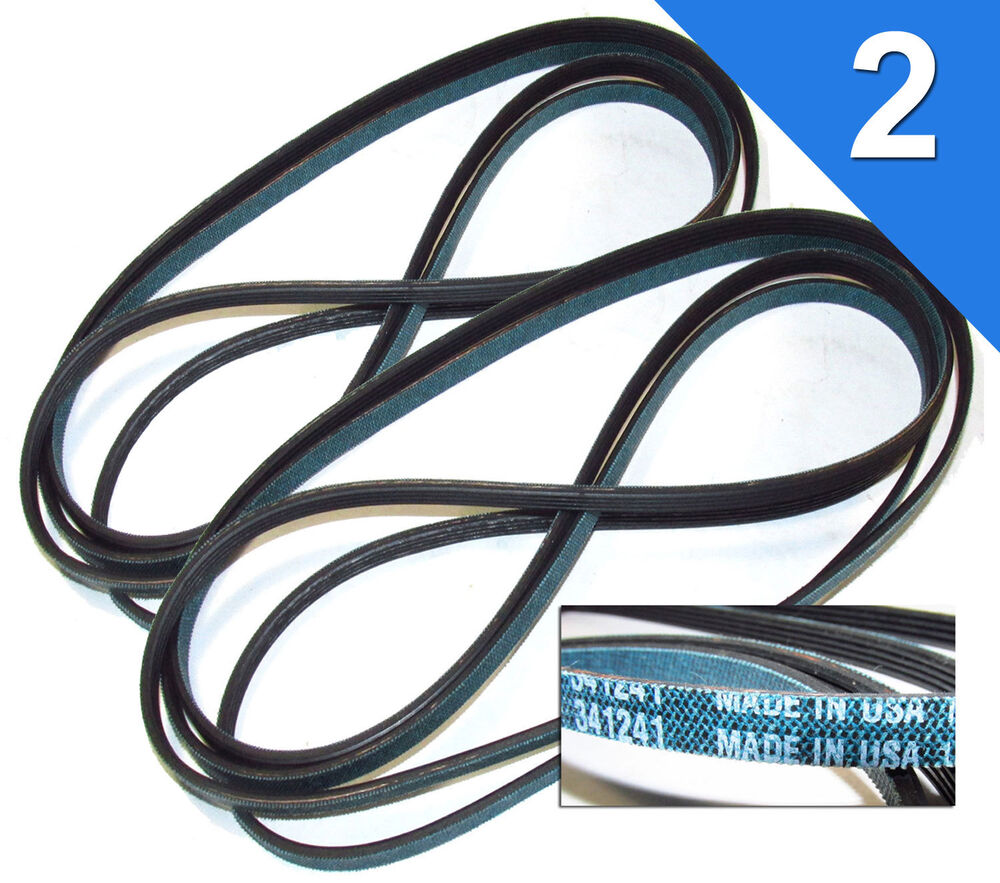 2 Pack 341241 Dryer Belts For Whirlpool Kenmore Sears