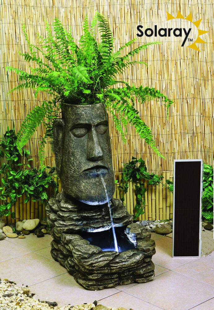 planter island head solar powered garden water feature self contained light 5055372319989