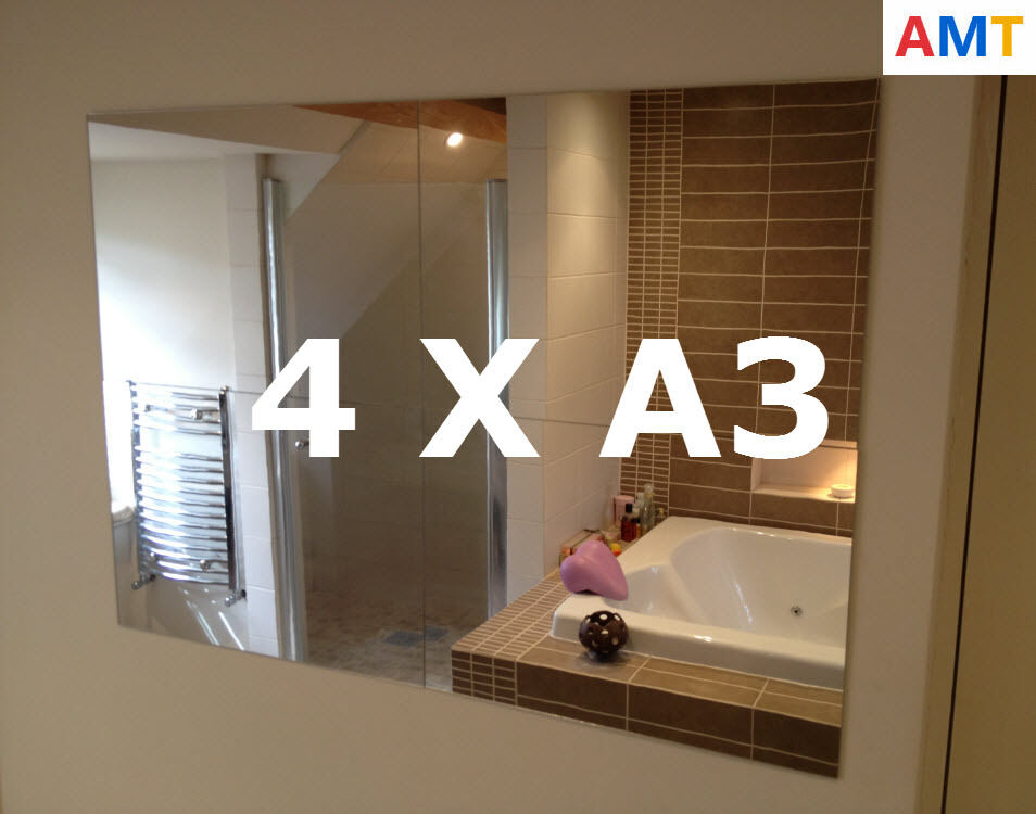 4 X Acrylic Mirror Tiles A3 420x297mm Bathroom Bedroom Perspex Safety Mirrors