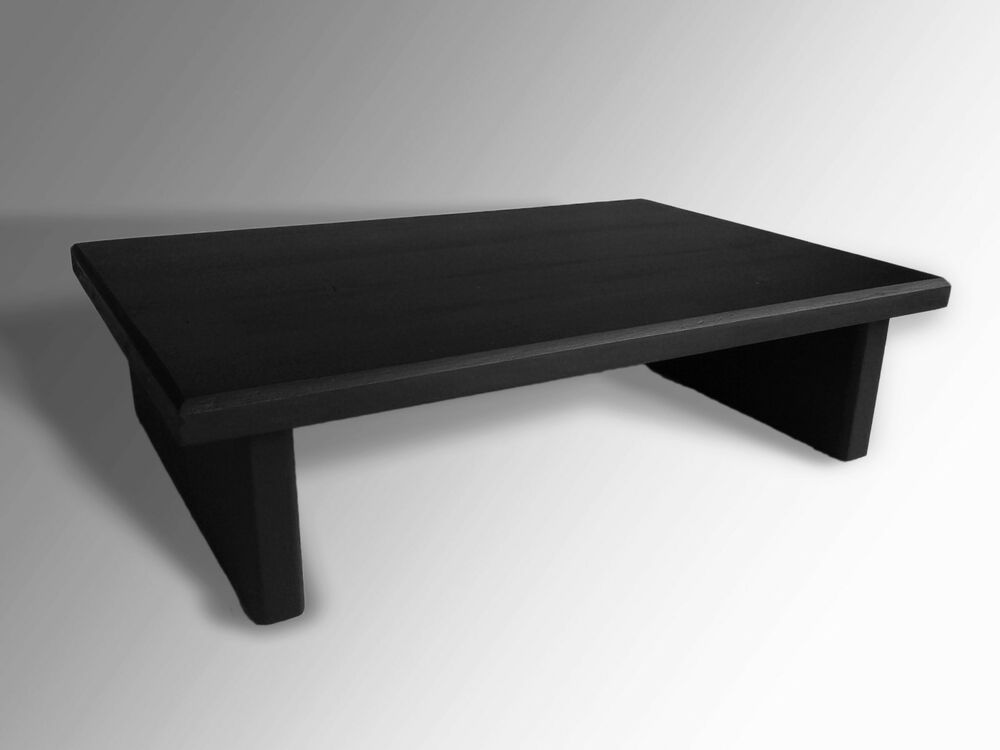 L k monitor stand pine flat black  tv