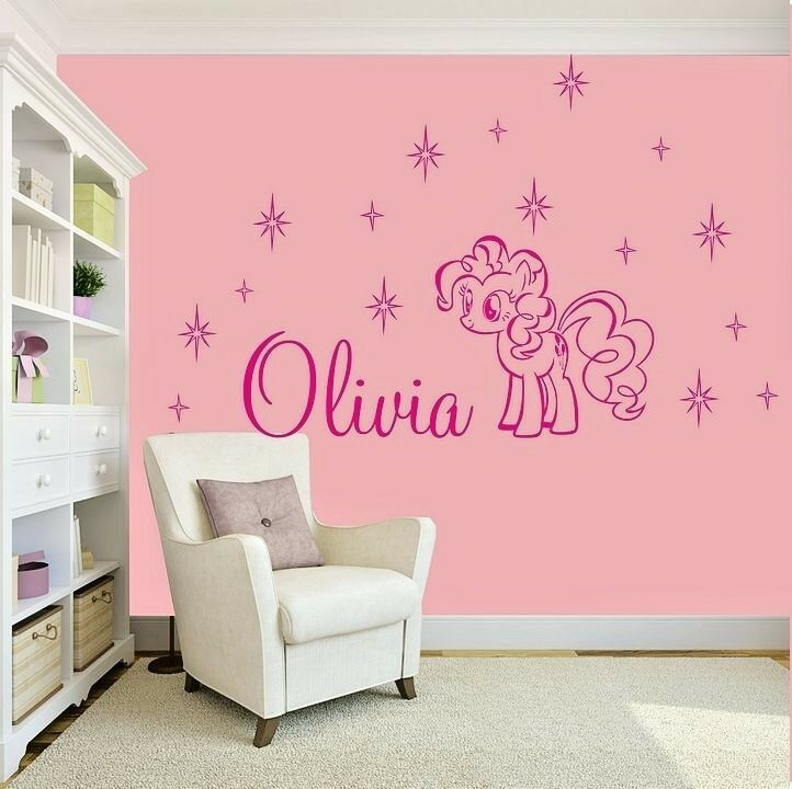 girls name bedroom wall art decal sticker my little pony girl amp flower removable wall art sticker vinyl decal room