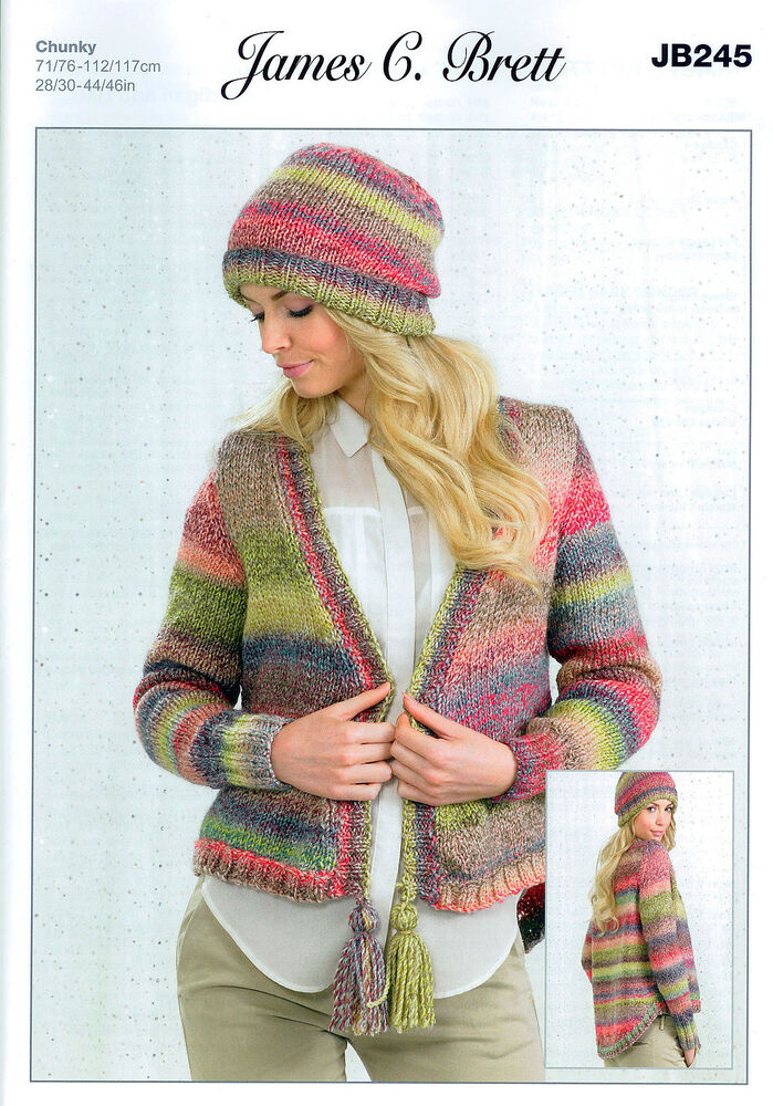 Ladies Cardigan And Hat Jb245 Knitting Pattern In James