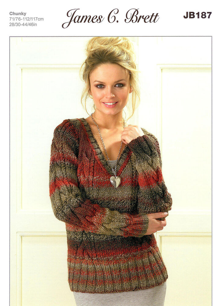 Knitting Pattern For Chunky Ladies Cardigan : Ladies Sweater JB187 Knitting Pattern James C Brett Marble Chunky eBay