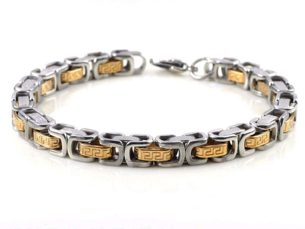 Silver gold stainless steel motorcycle biker mens chain for Biker jewelry stainless steel
