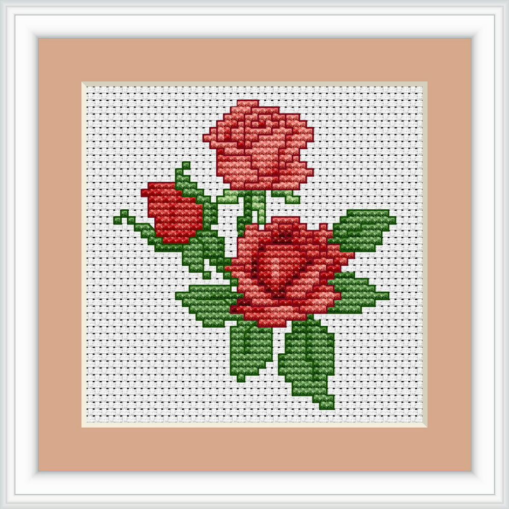 Red roses cross stitch kit luca s beginner cm
