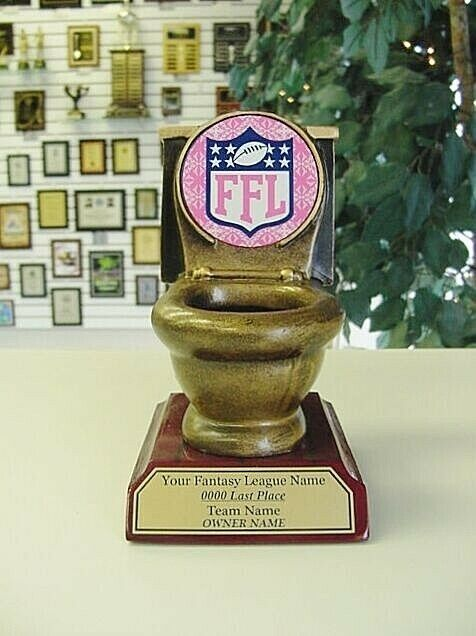 pink ffl new last place fantasy football trophy gag toilet