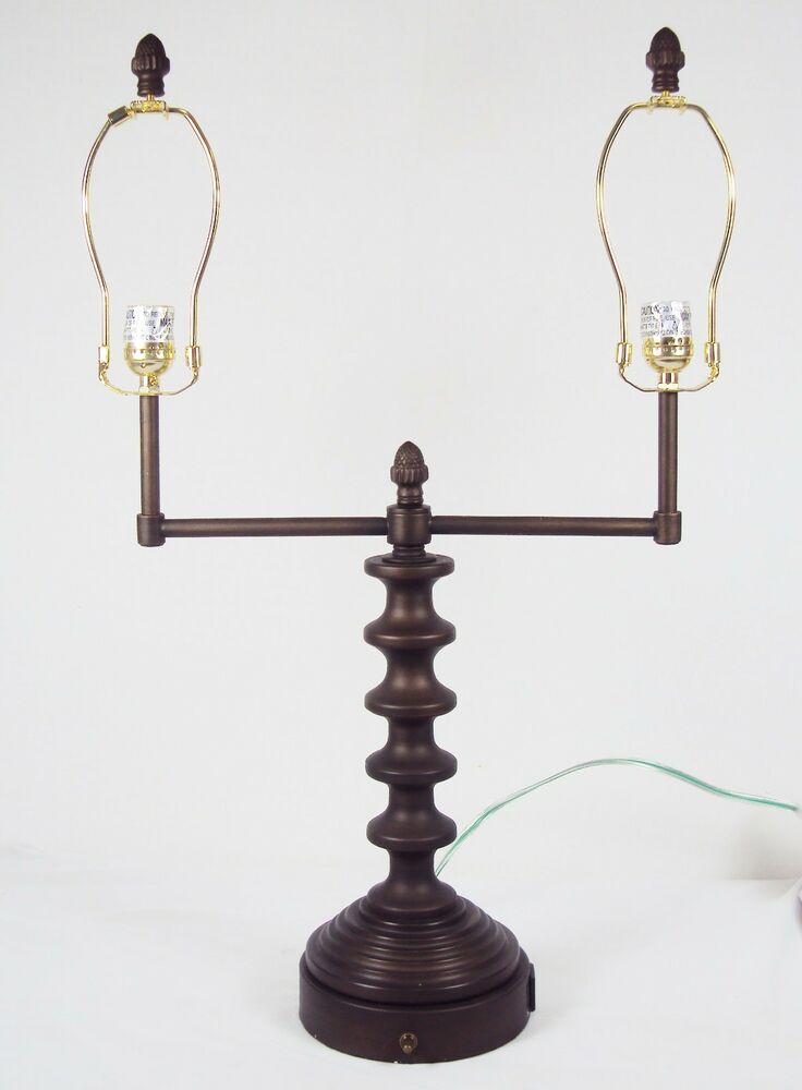 table desk lamp twin bulbs power outlet turned wood styling. Black Bedroom Furniture Sets. Home Design Ideas