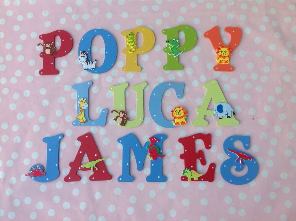 Personalised children kids name wooden wall door letter for Kids name letters