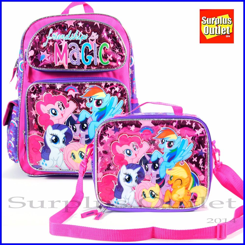 my little pony 12 toddler backpack lunch bag 2pc set ebay. Black Bedroom Furniture Sets. Home Design Ideas