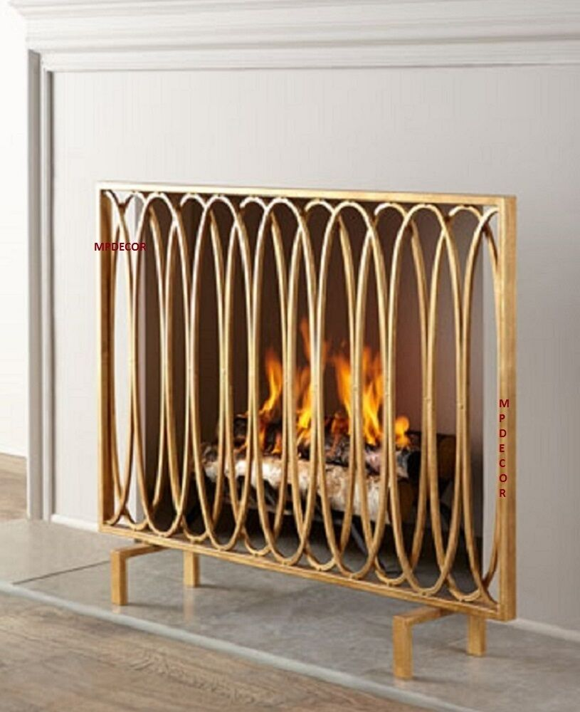 modern fireplace screen  ebay - modern geometric oval loops fireplace fire screen flat panel antique gold