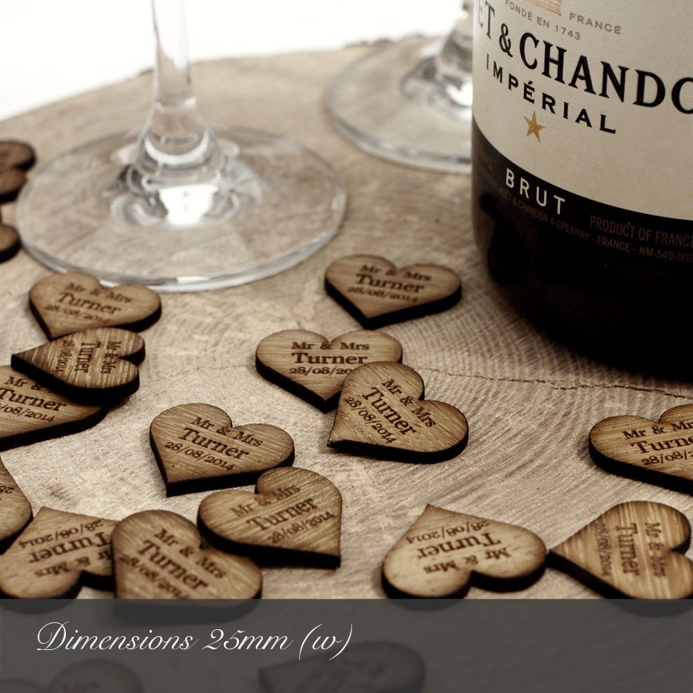 Wooden Rustic Wedding Decorations: Personalised Wooden Love Heart Table Decorations Place