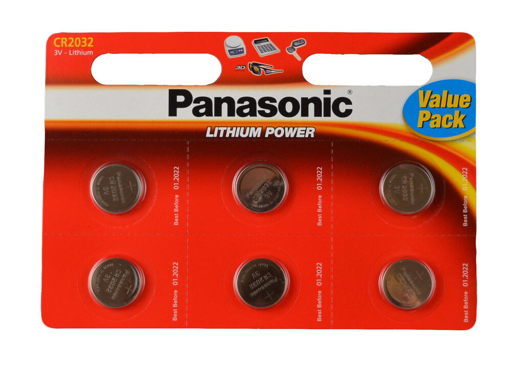 6 panasonic cr 2032 3volt lithium powered coin batteries. Black Bedroom Furniture Sets. Home Design Ideas