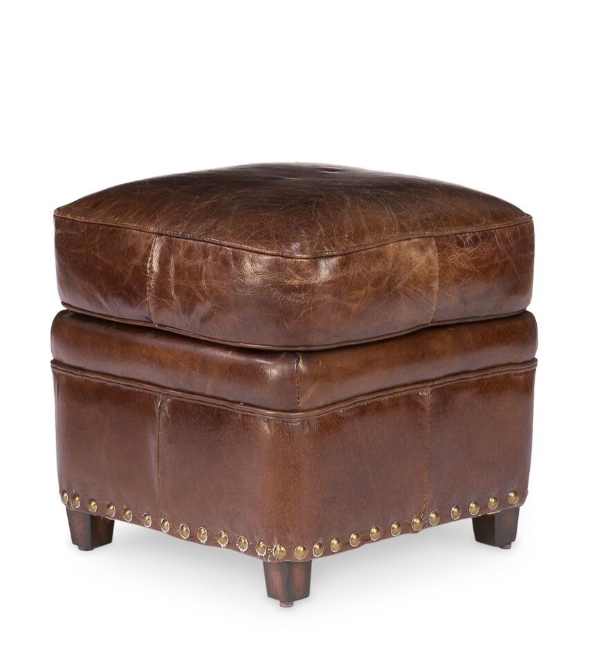 Ottomans Fawler Ottoman: 18x18 Wide Small Ottoman Stool Vintage Brown Cigar Leather