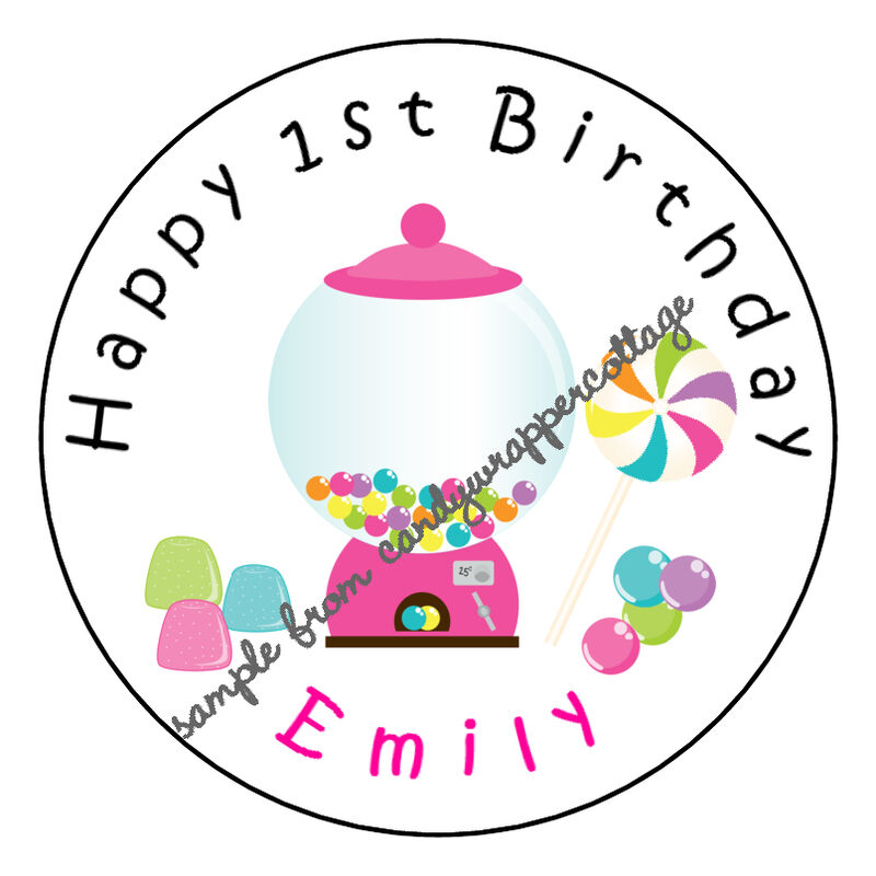 "Candy Land Birthday PARTY Personalized 2.5"" Round Labels"