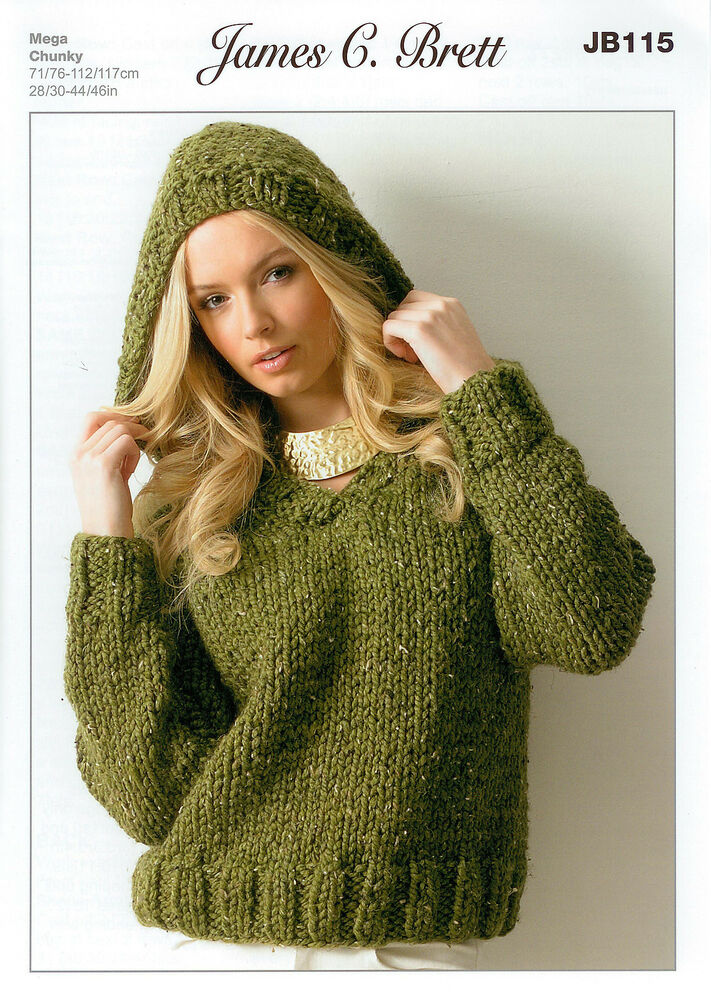 Ladies Aran Cardigan With Hood Knitting Pattern : Ladies Hooded Sweater JB115 Knitting Pattern James C Brett ...