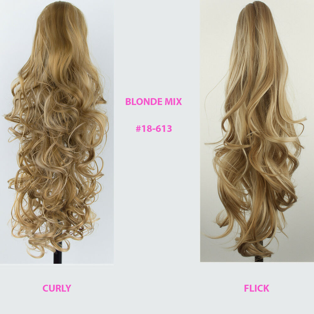 Ponytail Clip In Hair Extensions Blonde Mix 18 613