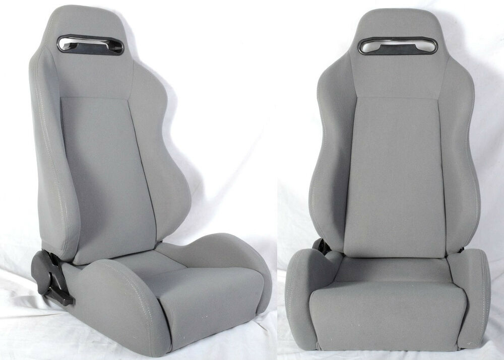 new 1 pair gray cloth racing seat reclinable w sliders all ford ebay. Black Bedroom Furniture Sets. Home Design Ideas