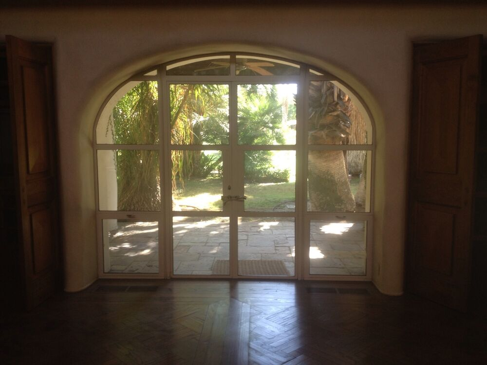 Metal french doors in arched frame ebay for Metal french doors