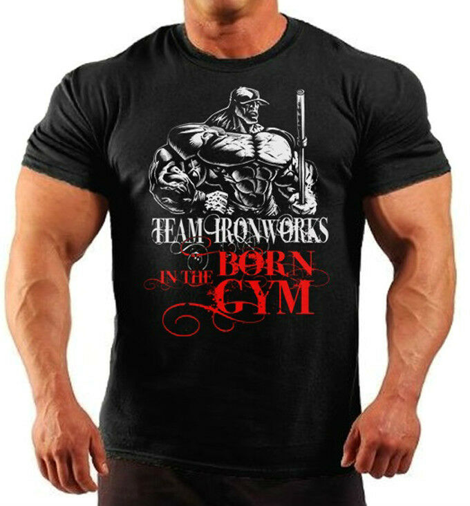 Born in the gym black bodybuilding t shirt workout gym for T shirts for gym workout