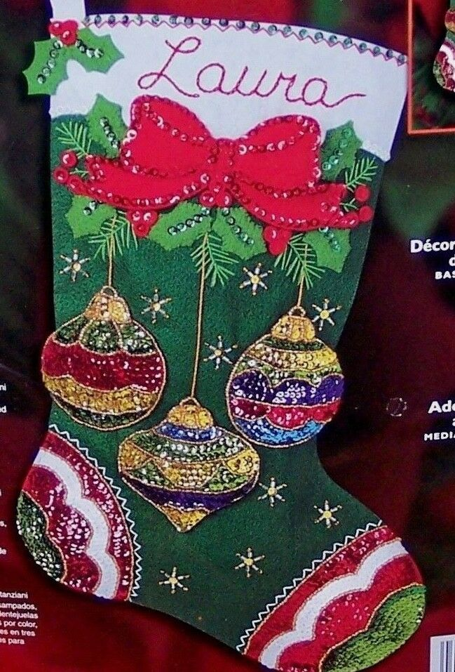 Bucilla Quot Jeweled Ornaments Quot Felt Christmas Stocking Kit