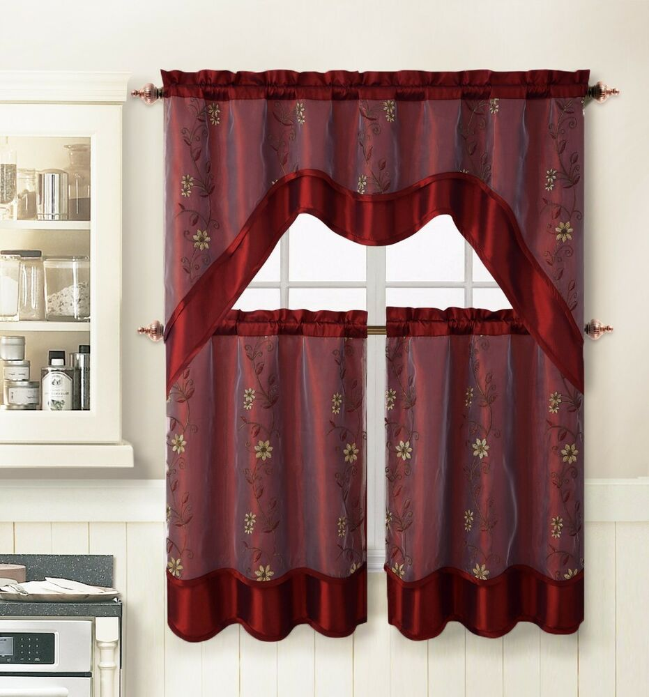 Burgundy 3 pc kitchen window curtain set 2 layer for Valance curtains for kitchen