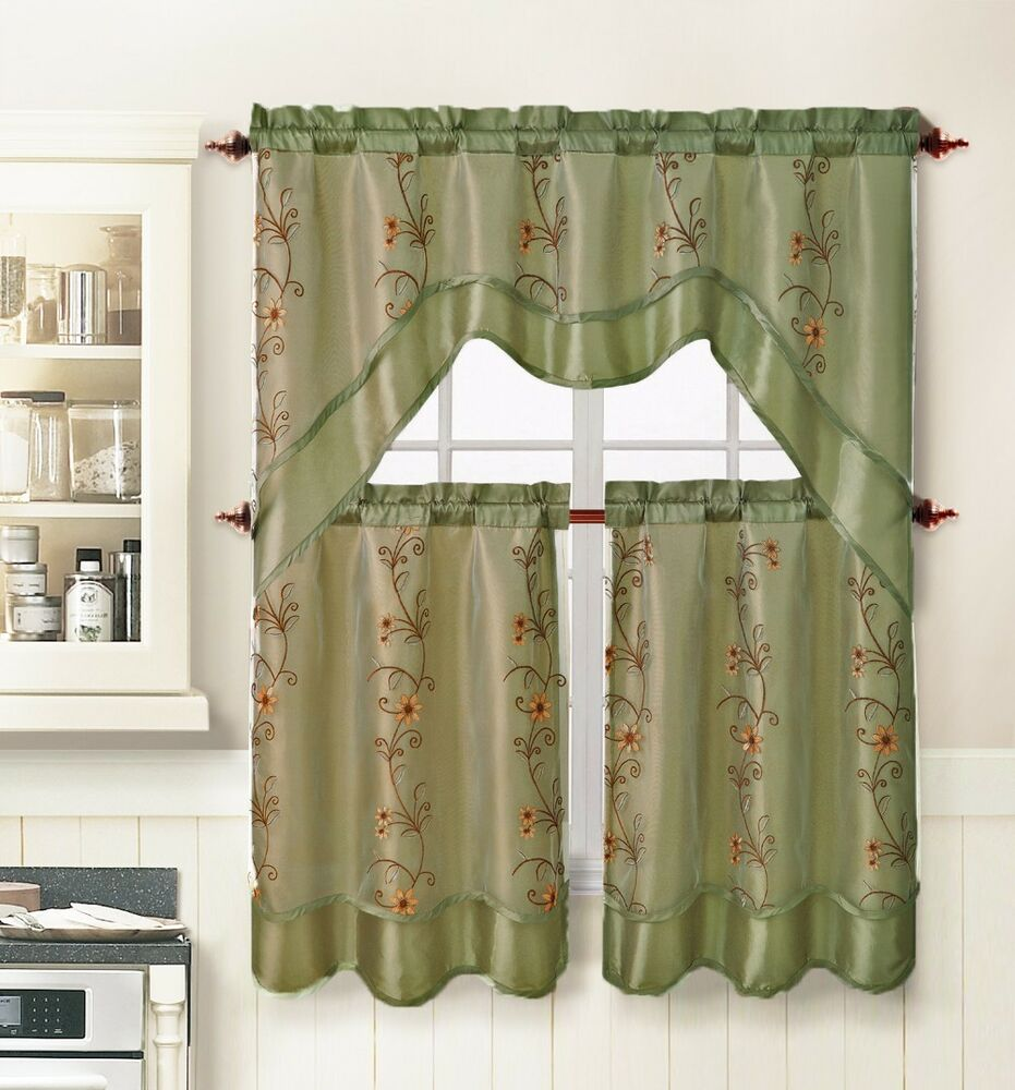Kitchen Window Curtains: Sage 3 Pc. Kitchen Window Curtain Set: 2 Layer,Embroidered