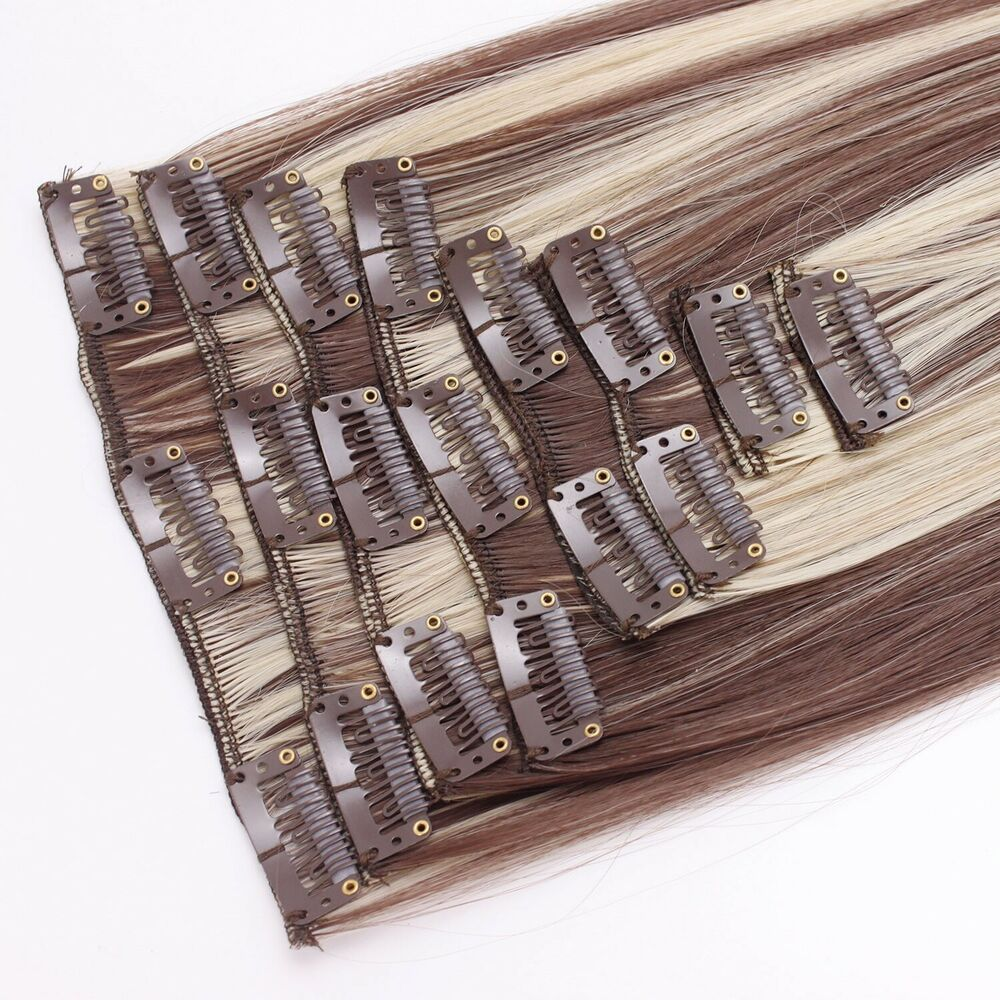 Clip In Hair Extensions Straight Medium Brown Blonde Mix