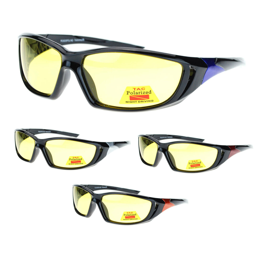 Mens Polarized Yellow Night Driving Lens Oval Sport Warp ...