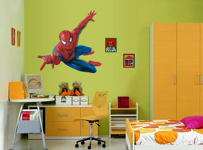 New 3d view spiderman super hero wall sticker boys bedroom - Wall stickers camerette ...