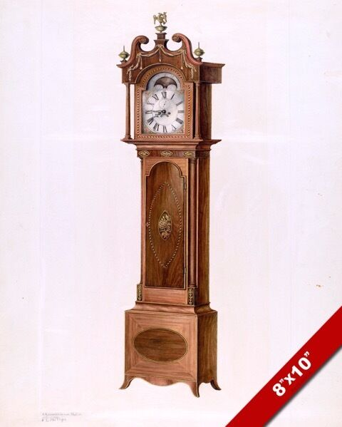 VINTAGE TECHNICAL DRAWING OF GRANDFATHER CLOCK PAINTING ...