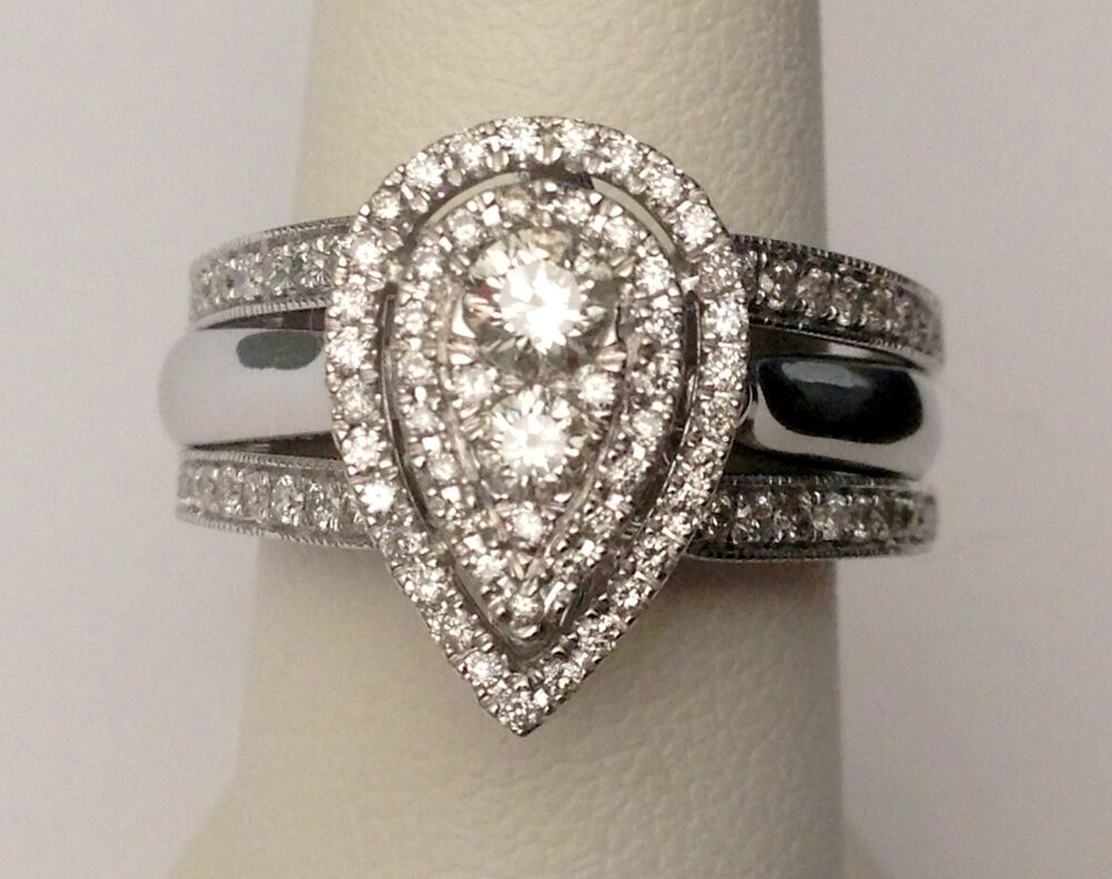 White Gold Pear Tear Drop Shape Diamonds Engagement Wedding Bridal Set Ring H
