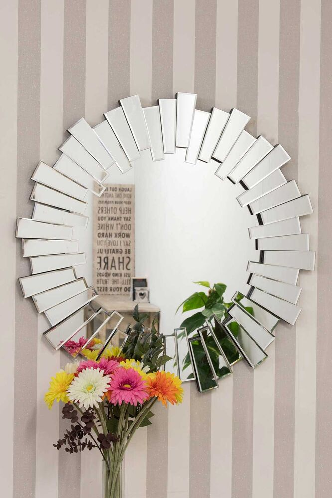 Large modern design round sophisticated sunburst venetain - Wall mirror modern design ...