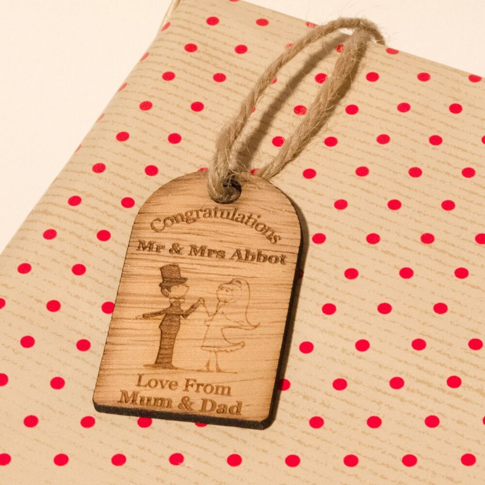 Wedding Gift Engraved Message : ... Wedding Gift Tags Individually Engraved With Personalised Message