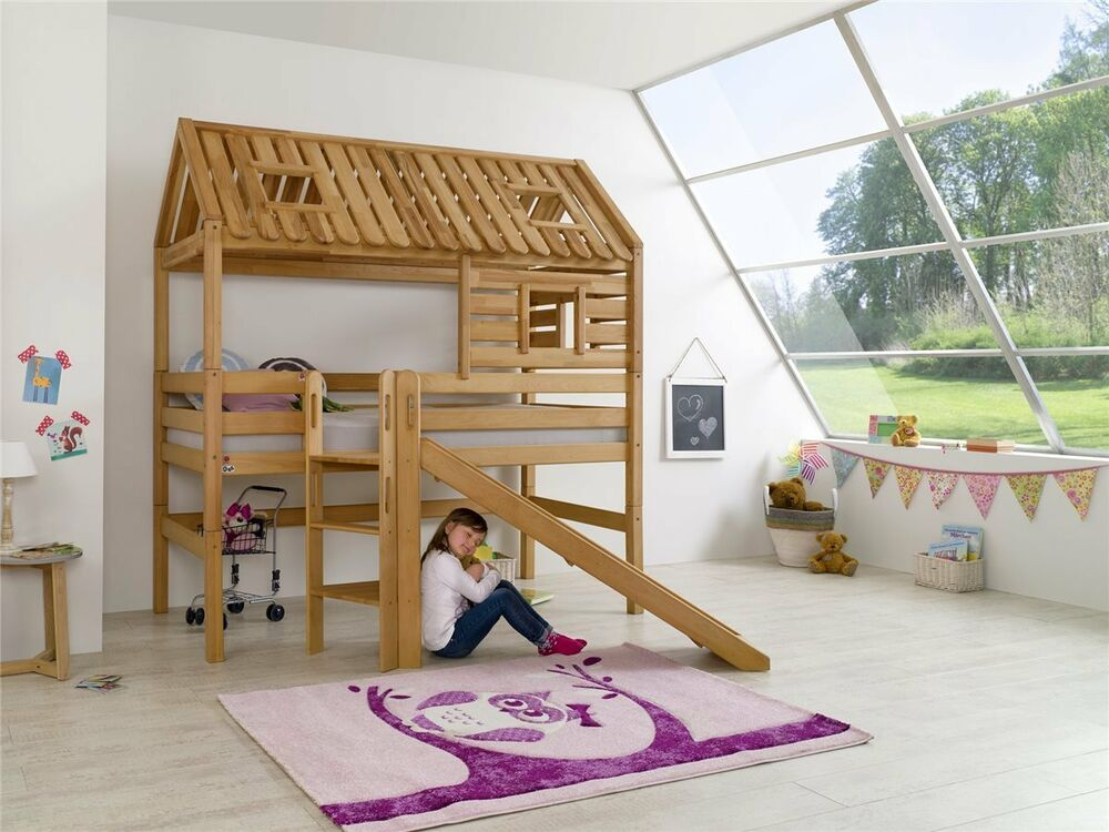 hochbett spielbett spielhaus toms h tte buche massiv mit. Black Bedroom Furniture Sets. Home Design Ideas