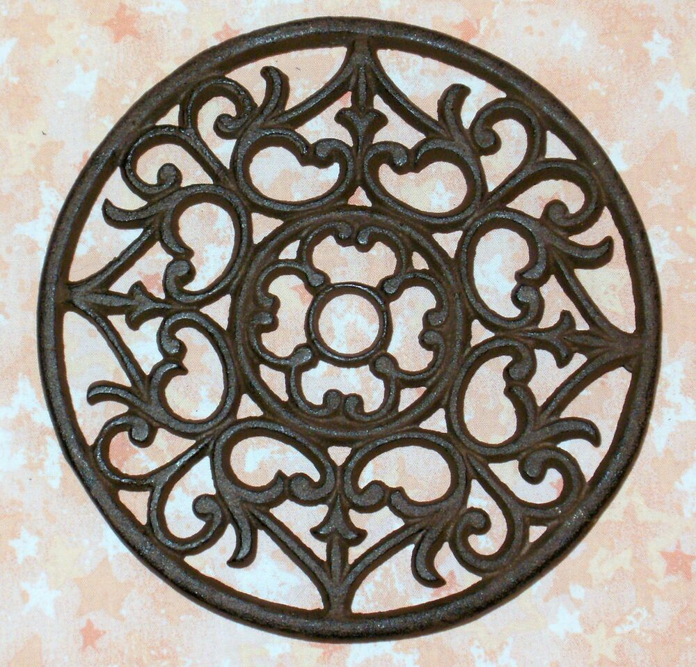 NEW~CAST IRON Ornate Round Functional Trivet - Wall Decor ...